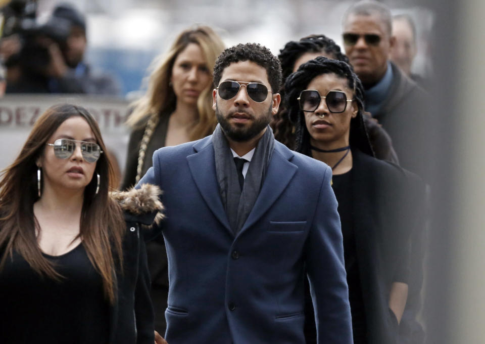 Jussie Smollett arrives at Leighton Criminal Courthouse on March 14, 2019 in Chicago, Ill. (Photo: Nuccio DiNuzzo/Getty Images)