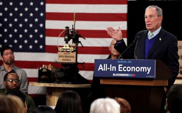 PHOTO: Democratic presidential candidate and former New York Mayor Michael Bloomberg speaks at the Bounce Innovation Hub, Jan. 8, 2020, in Akron, Ohio. (Tony Dejak/AP)