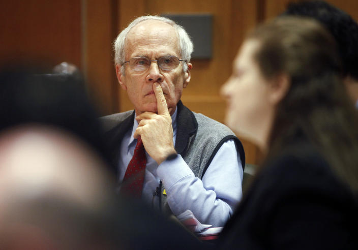 Wisconsin Secretary of State Doug La Follette listens to Assistant Attorney General Maria Lazar make her opening arguments in front of Dane County Circuit Judge Maryann Sumi at the Dane County Courthouse in Madison, Wis., Tuesday, March 29, 2011. (Michael P. King/AP Photo)