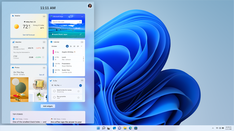 Windows 11 gets a whole new look with softer edges and more transparencies throughout the operating system. (Image: Microsoft)