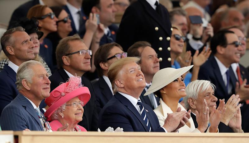 Britain's Prince Charles, Queen Elizabeth II, President Donald Trump, first lady Melania Trump and Greek President Prokopis Pavlopoulos, from left, applaud as they watch a fly past at the end of an event to mark the 75th anniversary of D-Day in Portsmouth, England Wednesday, June 5, 2019. (Photo: Matt Dunham/AP)