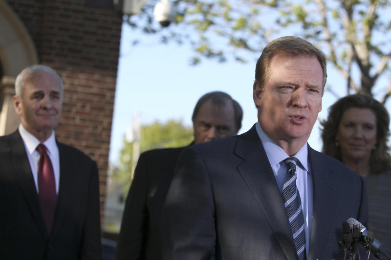 NFL Commissioner Roger Goodell speaks during a news conference at the governors residence in St. Paul, Minn., Tuesday, May 17, 2011. Looking on at left is Gov. Mark Clayton. (AP Photo/The Star Tribune, Elizabeth Flores) ** (ST. PAUL PIONEER PRESS OUT) SOFT OUT MINNEAPOLIS-AREA TV NOT TV, MAGS OUT. **