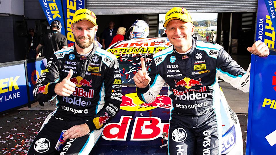Shane van Gisbergen and Garth Tander of Holden after the 2020 Bathurst 1000. (Getty Images)