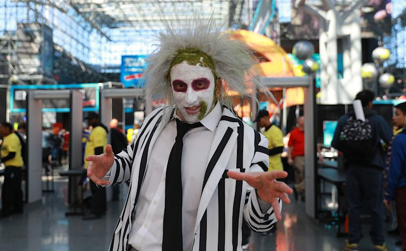 "Matt from New Jersey dressed as ""Beetlejucie"" attends the New York Comic Con 2019 at the Jacob Javits Center on Oct. 5, 2019 in New York City. (Photo: Gordon Donovan/Yahoo News)"