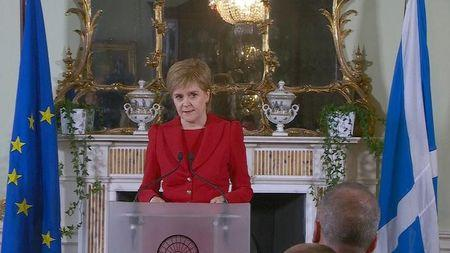 A still image from video showS Scotland's First Minister Nicola Sturgeon speaking following the result of the EU referendum, in Edinburgh, Scotland