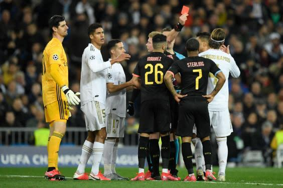 Sergio Ramos was sent off late in the game (Getty)