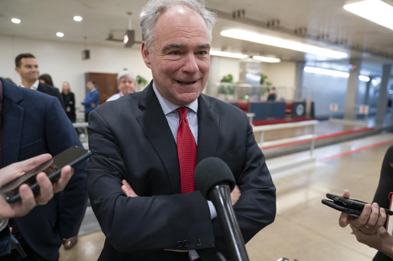 Sen. Tim Kaine, D-Va., a member of the Senate Armed Services Committee and the Foreign Relations Committee, responds to reporters following a briefing by Secretary of State Mike Pompeo, Defense Secretary Mark Esper, and other national security officials on the details of the threat that prompted the U.S. to kill Iranian Gen. Qassem Soleimani in Iraq, Wednesday, Jan. 8, 2020 on Capitol Hill in Washington. (AP Photo/J. Scott Applewhite)