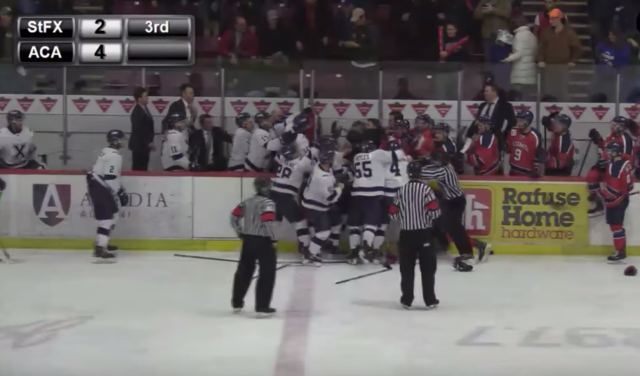 Players from Acadia and StFX throw down in a wild brawl that'll surely lead to plenty of suspensions.