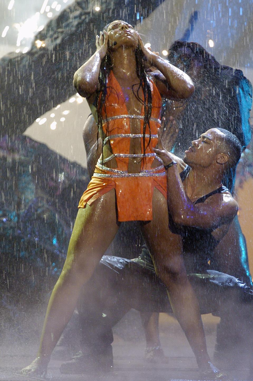 "Ashanti performs ""Rain on Me"" at the American Music Awards in 2003. (Photo: AP/Mark J. Terrill)"