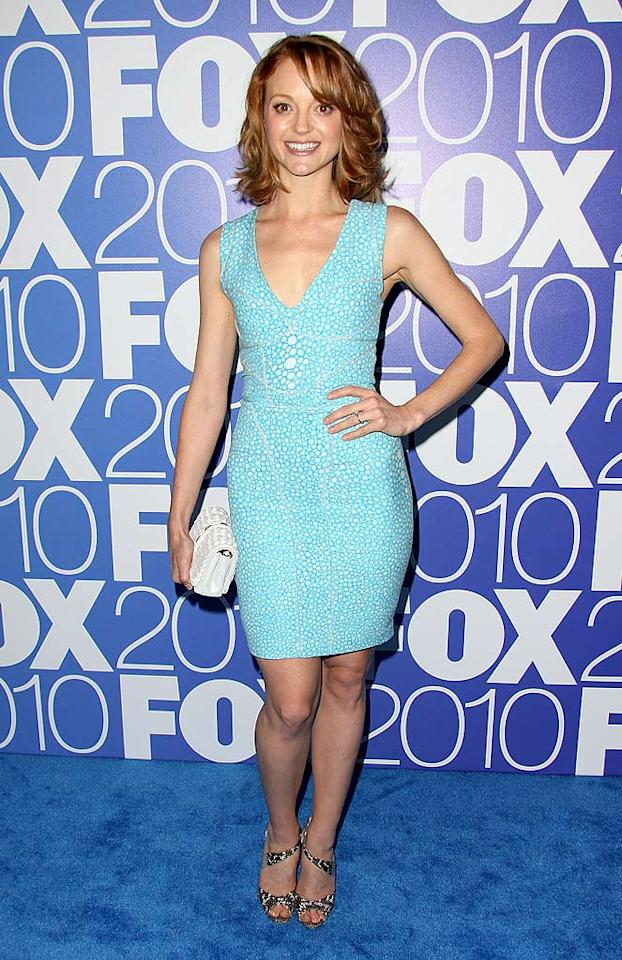 "Fellow FOX star Jayma Mays was also on hand to promote her hit series, ""Glee."" The redhead was cute as can be in a pebble print Brian Reyes dress and leopard sandals courtesy of Brian Atwood. <a href=""http://www.splashnewsonline.com"" target=""new"">Splash News</a> - May 17, 2010"