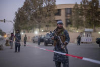 Taliban fighters guard a Serena hotel, which is popular with foreigners, in Kabul, Afghanistan, Tuesday, Oct. 12, 2021. (AP Photo/Ahmad Halabisaz)