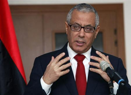 Libya's PM Zeidan speaks during news conference in Tripoli