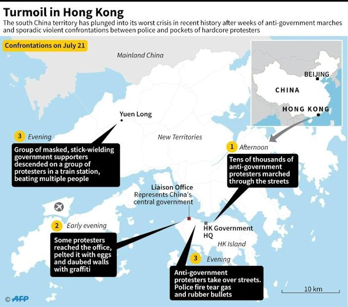 Map showing protest sites and scenes of politically related clashes in Hong Kong on July 21 (AFP Photo/John SAEKI)