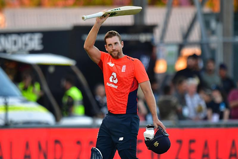 England's Dawid Malan lifts his bat as he walks from the field at the end of England's innings during the Twenty20 cricket match between New Zealand and England at McLean Park in Napier on November 8, 2019. (Photo by Marty MELVILLE / AFP) (Photo by MARTY MELVILLE/AFP via Getty Images)