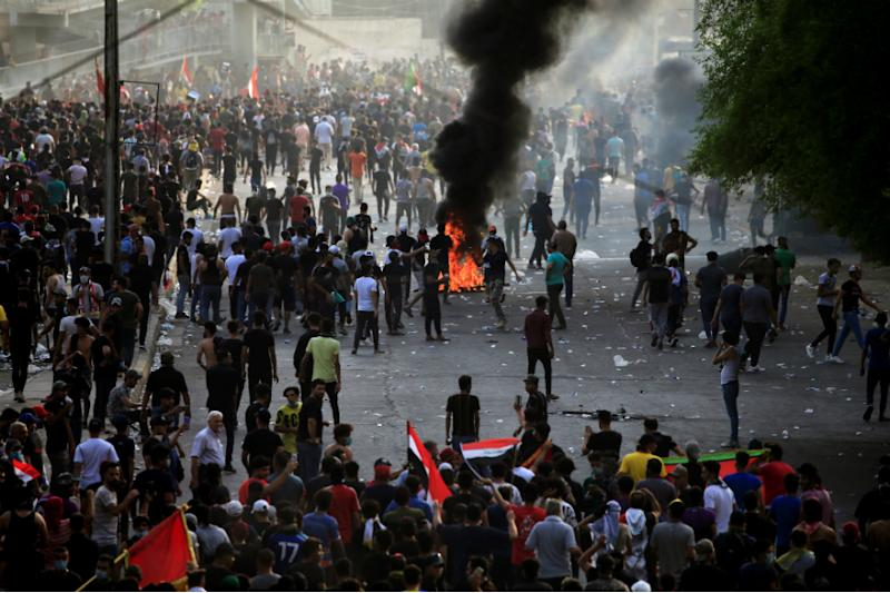 Demonstrators gather at a protest in Baghdad on Wednesday. (Reuters)