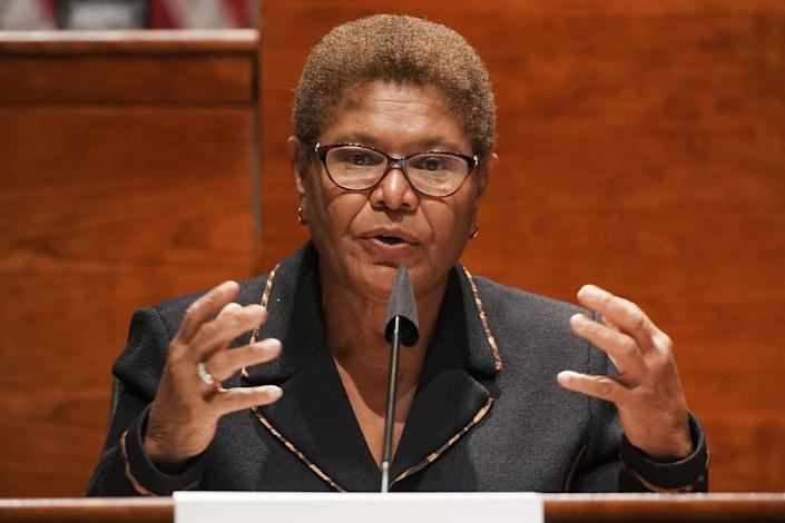 Rep. Karen Bass (D-Los Angeles) speaks on Capitol Hill in Washington in 2020.