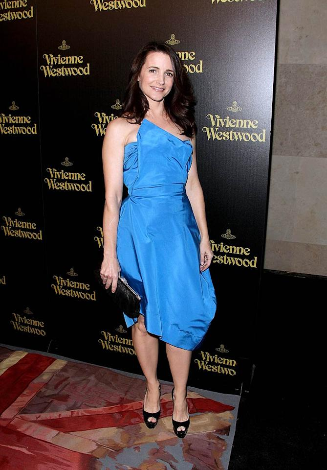"Following in Malin's footsteps was her ""Couples Retreat"" co-star Kristin Davis, who made a cameo at the star-studded soiree in one of Westwood's blue taffeta creations and Christian Louboutin heels. Todd Williamson/<a href=""http://www.wireimage.com"" target=""new"">WireImage.com</a> - March 30, 2011"