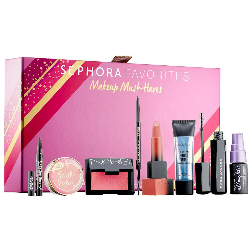 """<p><strong>Sephora Favorites</strong></p><p>sephora.com</p><p><strong>$48.00</strong></p><p><a href=""""https://go.redirectingat.com?id=74968X1596630&url=https%3A%2F%2Fwww.sephora.com%2Fproduct%2Fsephora-favorites-makeup-must-haves-P461526&sref=https%3A%2F%2Fwww.redbookmag.com%2Ffashion%2Fg34746885%2Fmakeup-gift-sets%2F"""" rel=""""nofollow noopener"""" target=""""_blank"""" data-ylk=""""slk:Shop Now"""" class=""""link rapid-noclick-resp"""">Shop Now</a></p><p>If you're not sure where her allegiance lies (eyes vs. lips vs. cheeks), then go for a kit that has a wide assortment of best-selling products from top brands like NARS, Urban Decay, and HUDA BEAUTY.</p>"""