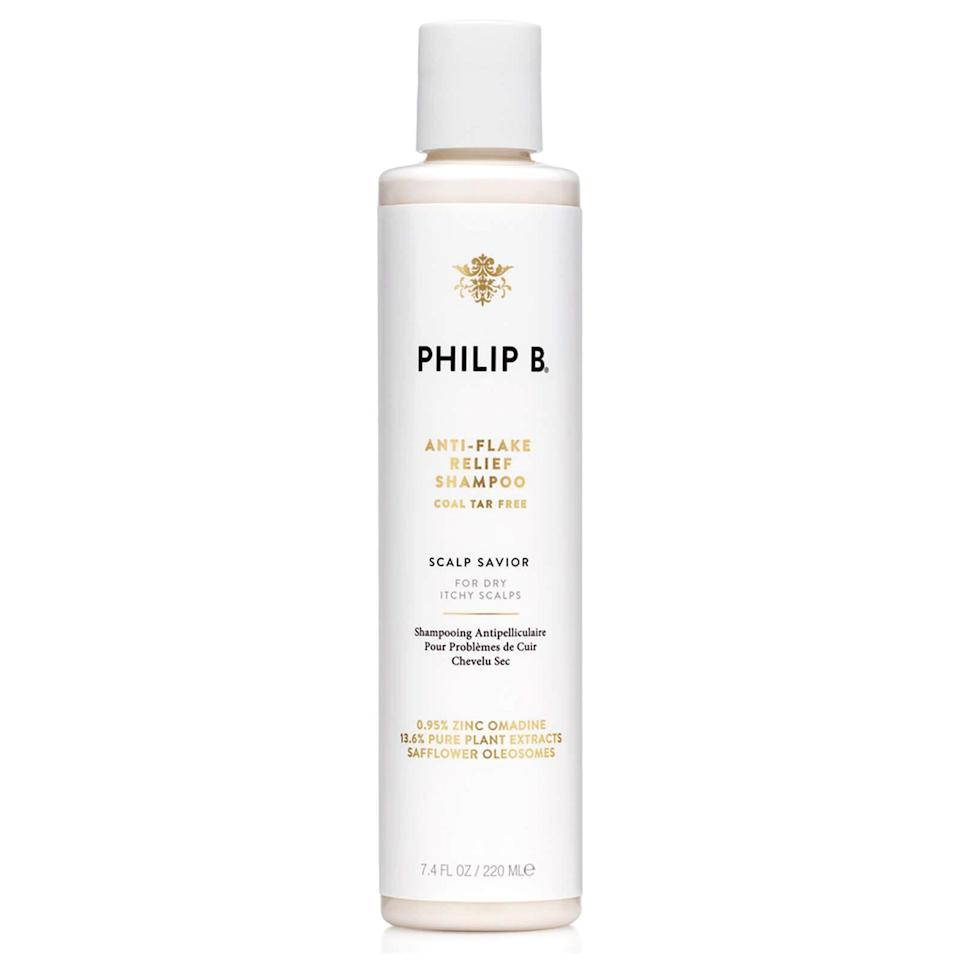 """<p><strong>Philip B.</strong></p><p>dermstore.com</p><p><a href=""""https://go.redirectingat.com?id=74968X1596630&url=https%3A%2F%2Fwww.dermstore.com%2Fproduct_AntiFlake%2BII%2BRelief%2BShampoo_22344.htm&sref=https%3A%2F%2Fwww.prevention.com%2Fbeauty%2Fg34236770%2Fdermstore-hair-sale-2020%2F"""" rel=""""nofollow noopener"""" target=""""_blank"""" data-ylk=""""slk:Shop Now"""" class=""""link rapid-noclick-resp"""">Shop Now</a></p><p><strong><del>$42</del> $32 (25% off)</strong></p><p>Winter is coming. If you have sensitive skin and want to fight flakiness, try Philip B.'s legendary Anti-Flake II Relief Shampoo, which works to heal and soothe dry, oily, and flaky scalps. The tea tree oil helps balance oil production and tackle the organisms that exacerbate scalp problems, which make it effective in combatting dandruff and psoriasis. <br></p>"""