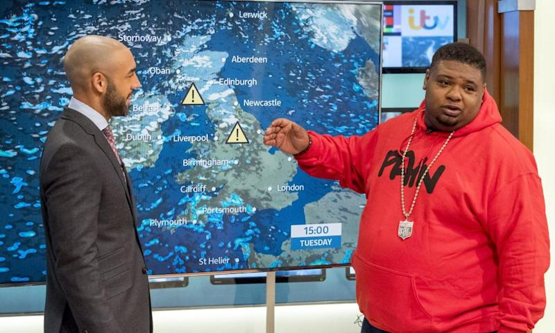 Alex Beresford and Big Narstie presenting the weather on Good Morning Britain.