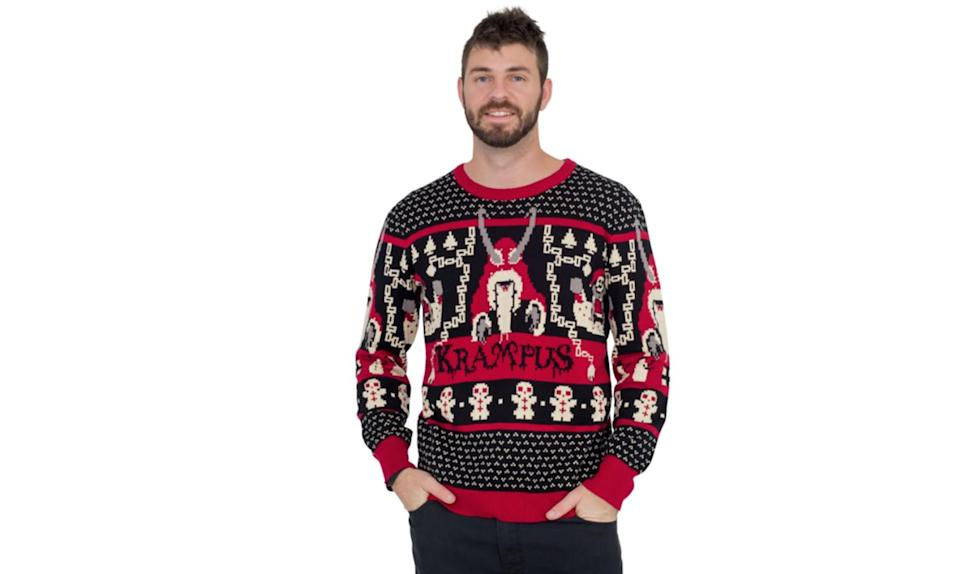 """<p>Whether you're wearing it in tribute to the 2015 film or the horned Austrian folklore figure who punishes children who are naughty, good job on your decision to scare the bejesus out of every youngster you encounter at the holidays. <strong><a rel=""""nofollow noopener"""" href=""""http://www.uglychristmassweater.com/product/krampus-knit-ugly-christmas-sweater/"""" target=""""_blank"""" data-ylk=""""slk:Buy here"""" class=""""link rapid-noclick-resp"""">Buy here</a></strong> </p>"""