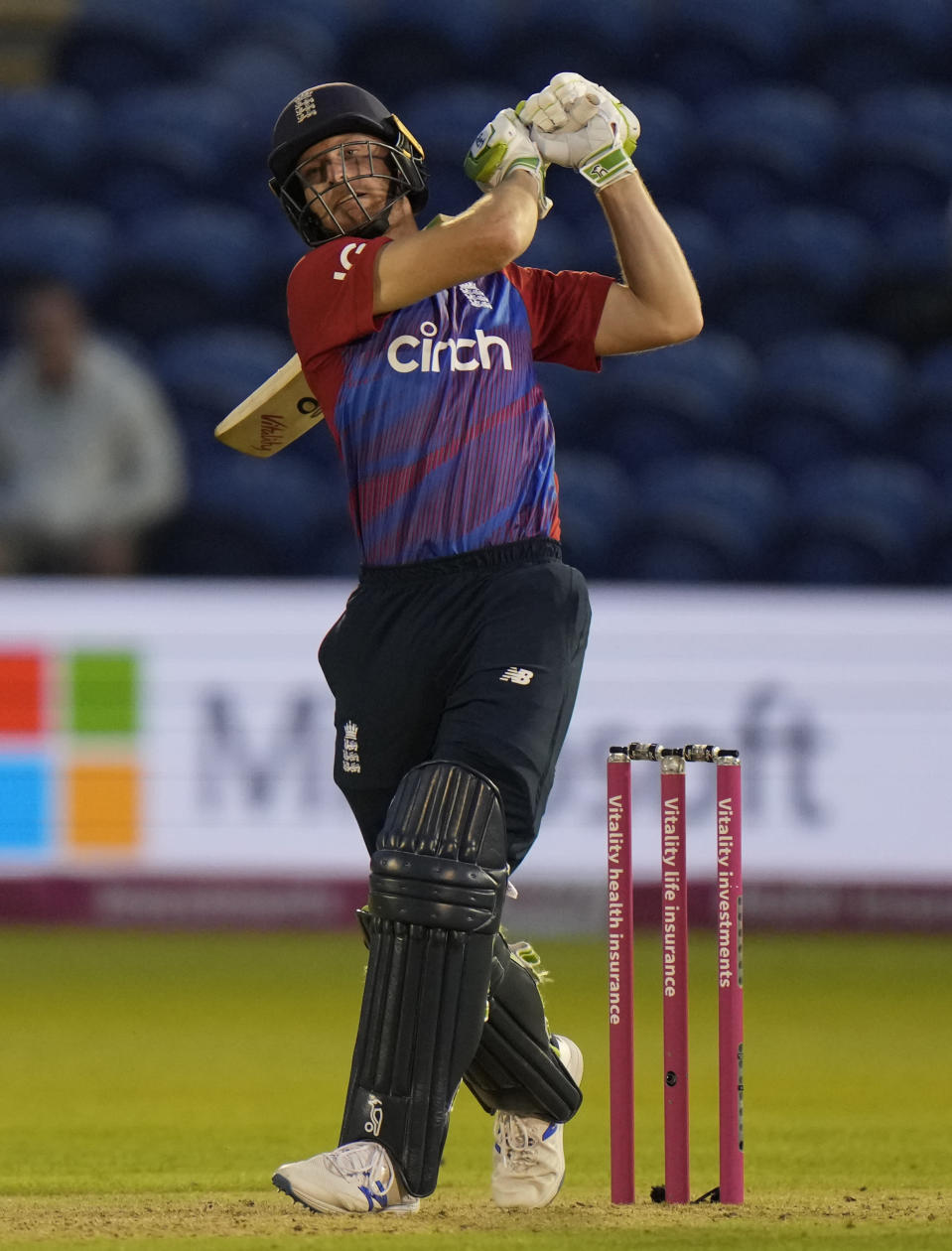 England's Jos Buttler hits the winning run during the T20 international cricket match between England and Sri Lanka at Cardiff, Wales, Wednesday, June 23, 2021. (AP Photo/Alastair Grant)