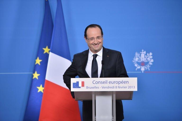 French President Francois Hollande attends a press conference at EU headquarters in Brussels, on February 8, 2013