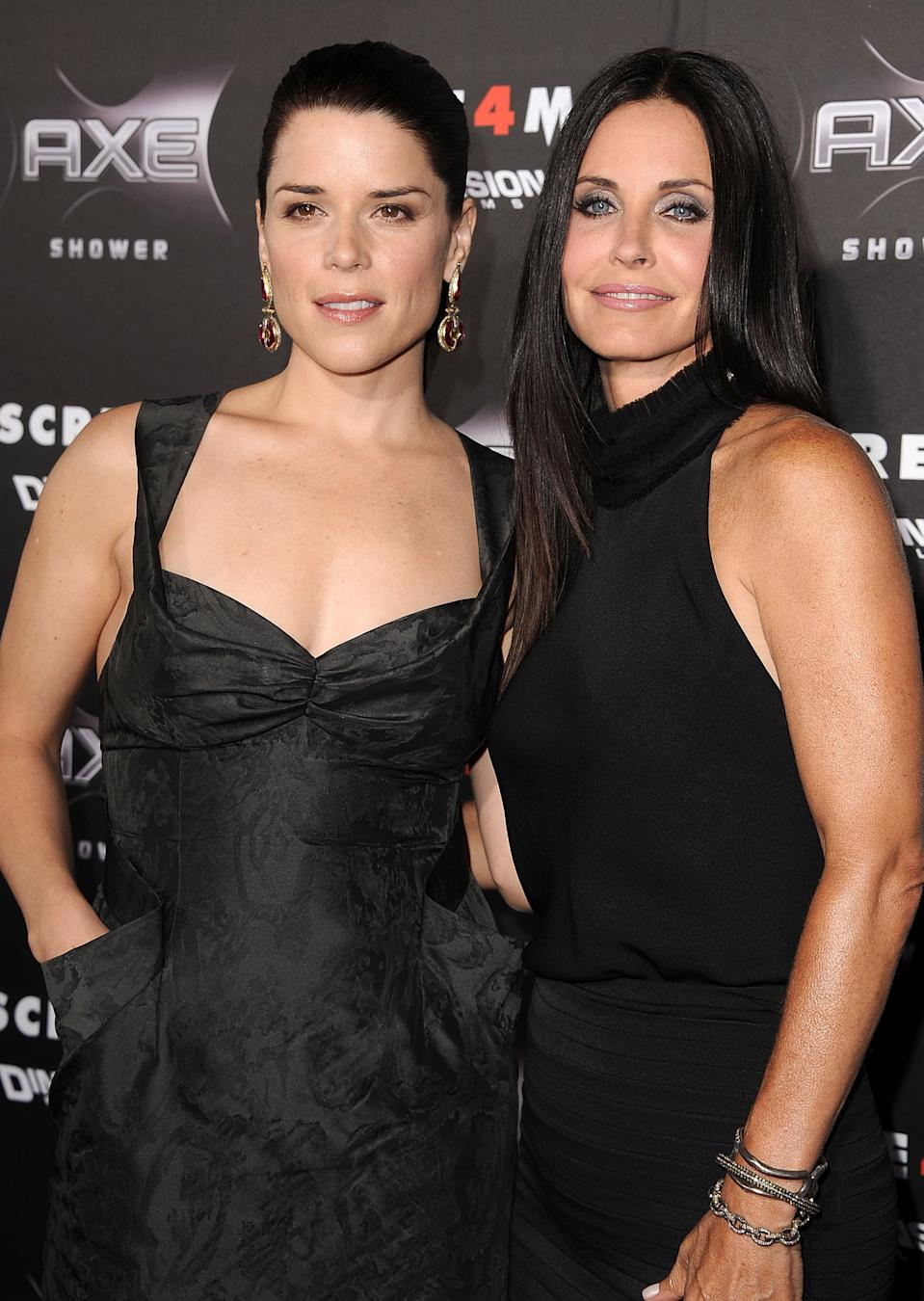 """Neve Campbell and Courteney Cox attends the """"Scre4m"""" Los Angeles Premiere at Grauman's Chinese Theatre on April 11, 2011 in Hollywood, California. (Photo by Steve Granitz/WireImage)"""