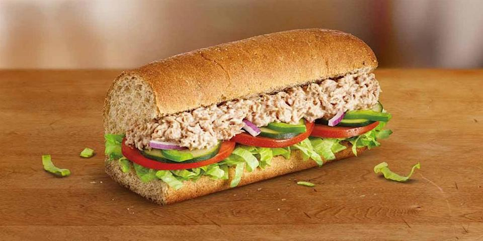 A Subway tuna sandwich is pictured.
