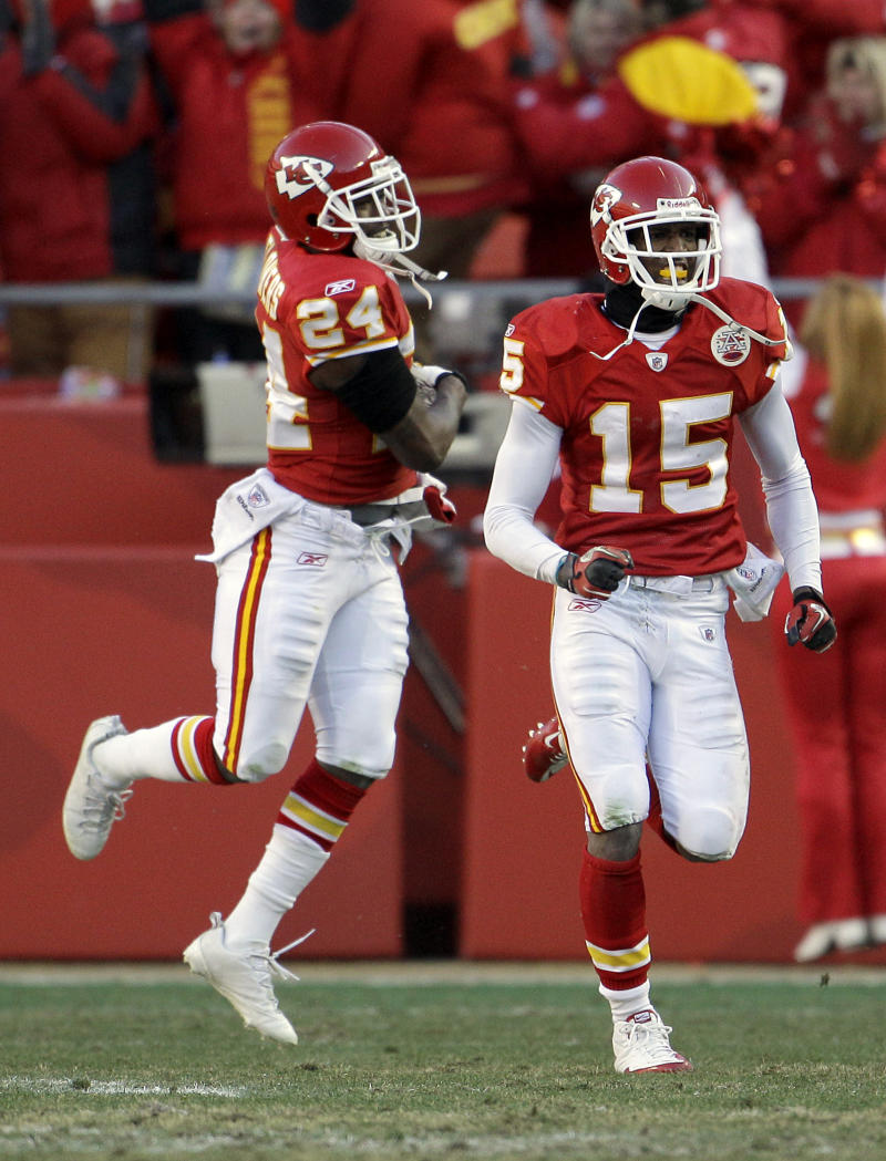 Kansas City Chiefs cornerback Brandon Flowers (24) and wide receiver Verran Tucker (15) celebrate after an NFL football game against the Denver Broncos Sunday, Dec. 5, 2010 in Kansas City, Mo. The Chiefs won the game 10-6. (AP Photo/Charlie Riedel)