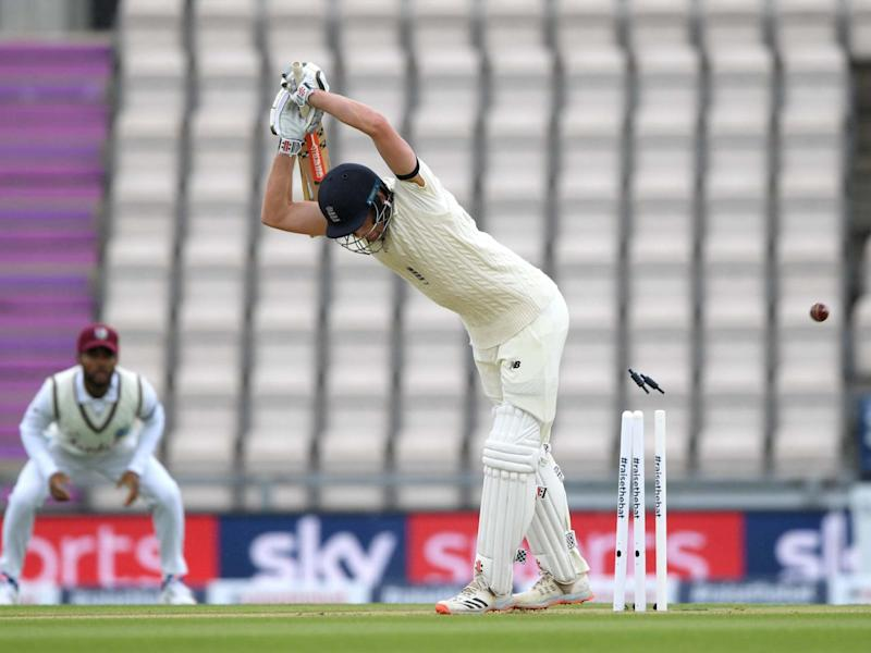 Dom Sibley is bowled by Shannon Gabriel on day one: Getty