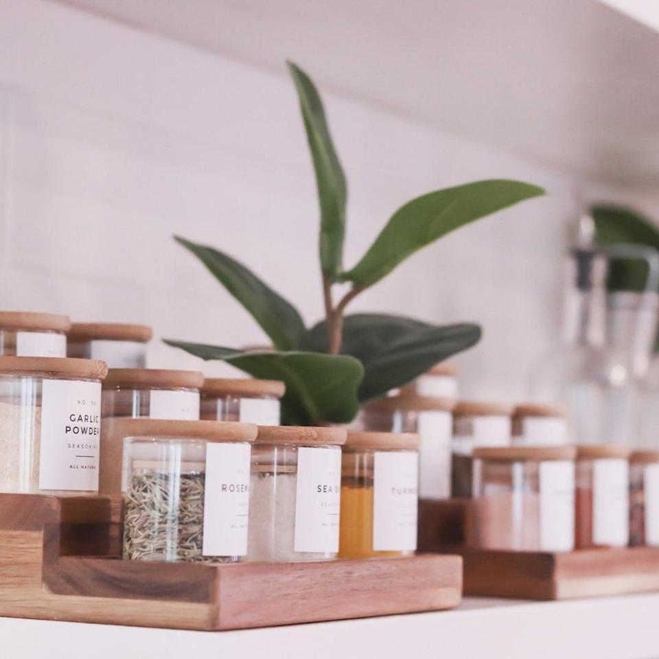 """Each jar has a label describing the spice inside, meaning your ingredients will be lovely enough to keep on display if your cupboards are already filled to the brim. This set includes 18 jars and 40 different labels (to make sure the spices you have on hand are covered). <br /><br />These lovely products are made by a family-run company in Atlanta.<br /><br /><strong>Promising review:</strong>""""These are absolutely gorgeous. They have a modern and sleek design. So pretty!!!!"""" — nancy1474<br /><br /><strong>Get it from<a href=""""https://go.skimresources.com?id=38395X987171&xs=1&xcust=HPOrganizingProducts6075dfcde4b0cd39fcc2c19f&url=https%3A%2F%2Fwww.etsy.com%2Fshop%2FTheMutedHome"""" target=""""_blank"""" rel=""""nofollow noopener noreferrer"""" data-skimlinks-tracking=""""5902331"""" data-vars-affiliate=""""AWIN"""" data-vars-campaign=""""SHOPLittleOrganizingWantMower3-21-2021--5902331"""" data-vars-href=""""https://www.awin1.com/cread.php?awinmid=6220&awinaffid=304459&clickref=SHOPLittleOrganizingWantMower3-21-2021--5902331&ued=https%3A%2F%2Fwww.etsy.com%2Fshop%2FTheMutedHome"""" data-vars-link-id=""""16540778"""" data-vars-price="""""""" data-vars-product-id=""""21045578"""" data-vars-product-img="""""""" data-vars-product-title="""""""" data-vars-retailers=""""etsy"""" data-ml-dynamic=""""true"""" data-ml-dynamic-type=""""sl"""" data-orig-url=""""https://www.awin1.com/cread.php?awinmid=6220&awinaffid=304459&clickref=SHOPLittleOrganizingWantMower3-21-2021--5902331&ued=https%3A%2F%2Fwww.etsy.com%2Fshop%2FTheMutedHome"""" data-ml-id=""""15"""">The Muted Home</a>on Etsy for<a href=""""https://go.skimresources.com?id=38395X987171&xs=1&xcust=HPOrganizingProducts6075dfcde4b0cd39fcc2c19f&url=https%3A%2F%2Fwww.etsy.com%2Flisting%2F845993400%2Fspice-jar-set-18-count"""" target=""""_blank"""" rel=""""nofollow noopener noreferrer"""" data-skimlinks-tracking=""""5902331"""" data-vars-affiliate=""""AWIN"""" data-vars-campaign=""""SHOPLittleOrganizingWantMower3-21-2021--5902331"""" data-vars-href=""""https://www.awin1.com/cread.php?awinmid=6220&awinaffid=304459&clickref=SHOPLittleOrganizingWantMower3-21-2021--590233"""