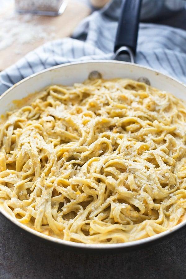 "<p>This butternut squash alfredo is the fall comfort meal you've been looking for. It's doused in creamy alfredo sauce and topped with satisfying parmesan cheese, and you'll be craving this every night of the week.</p> <p><strong>Get the recipe</strong>: <a href=""https://www.cookingforkeeps.com/five-ingredient-butternut-squash-alfredo/"" class=""link rapid-noclick-resp"" rel=""nofollow noopener"" target=""_blank"" data-ylk=""slk:five-ingredient butternut squash alfredo"">five-ingredient butternut squash alfredo</a></p>"