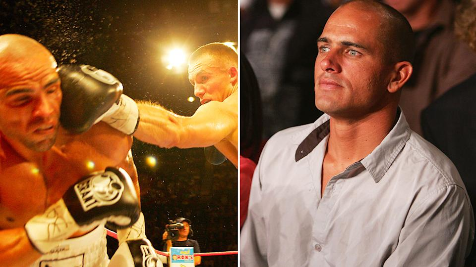 Kelly Slater is seen here watching Anthony Mundine's title fight against Mikkel Kessler in 2005.