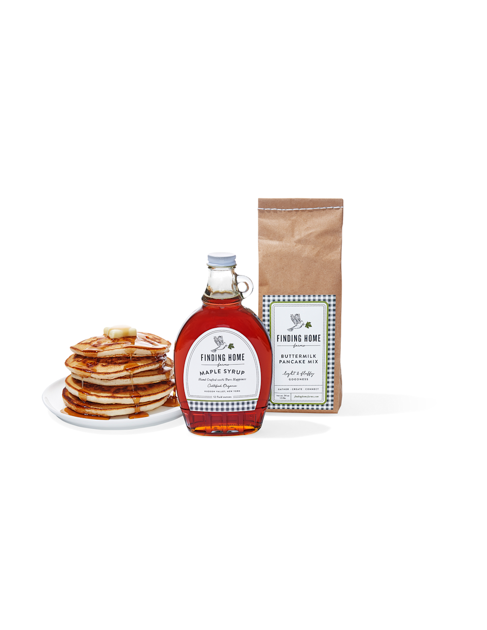 """<p><strong>Finding Home Farms </strong></p><p>$30</p><p><a class=""""link rapid-noclick-resp"""" href=""""https://findinghomefarms.com/product/boxed-organic-maple-syrup-pancake-mix-gift-set/"""" rel=""""nofollow noopener"""" target=""""_blank"""" data-ylk=""""slk:SHOP NOW"""">SHOP NOW</a></p><p><em>Originally $30, now 20 percent off with code OPRAH</em></p><p>This syrup from fourth- generation maple farmers in New York's Hudson Valley has a slightly buttery flavor that's unique to the region. Talk about the breakfast of champions.</p>"""