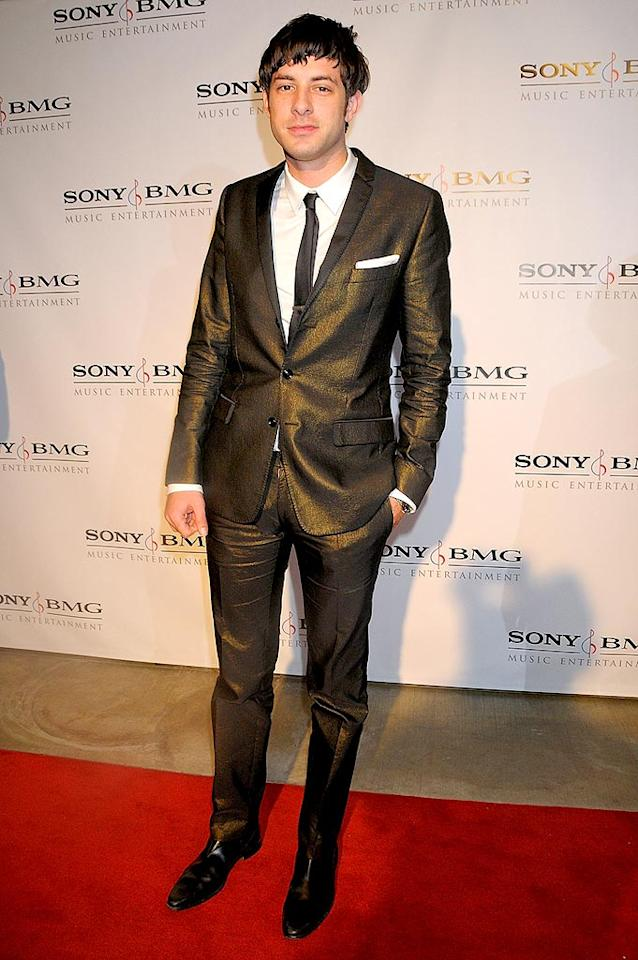 "Producer/DJ Mark Ronson looked smart in his slim suit and skinny tie, but we're not sure what was going on with his hair. Charley Gallay/<a href=""http://www.wireimage.com"" target=""new"">WireImage.com</a> - February 10, 2008"