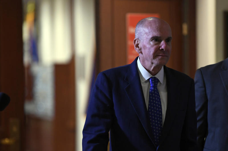 Michael McKinley, the former top aide to Secretary of State Mike Pompeo, leaves following a joint interview with the House Committee on Foreign Affairs, House Permanent Select Committee on Intelligence, and House Committee on Oversight and Reform on Capitol Hill in Washington, Wednesday, Oct. 16, 2019. (AP Photo/Susan Walsh)