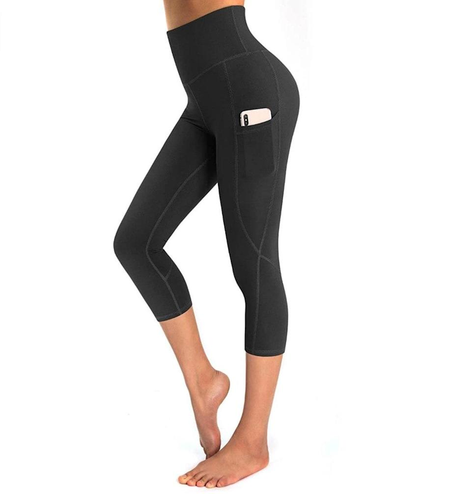 """<p><strong>Reviews & rating:</strong> 6,402 reviews, 4.4 out of 5 stars.</p> <p><strong>Key selling points:</strong> You can seamlessly transition from a Netflix binge to an intense workout in these capri leggings. They feature a high-rise structured waist band, baby-soft fabric, and two compression pockets on the waist and leg. </p> <p><strong>What customers say:</strong> """"These are by far the most soft and flexible fitness leggings I've ever owned! They are squat-proof and have full, functional pocket for your devices or wallet! I highly recommend these leggings — you will not regret buying them!"""" —<a href=""""https://www.amazon.com/gp/customer-reviews/R197XTH2I00JXL/ref=cm_cr_arp_d_rvw_ttl?ie=UTF8&ASIN=B08913SXMV"""" rel=""""nofollow noopener"""" target=""""_blank"""" data-ylk=""""slk:Karlee"""" class=""""link rapid-noclick-resp""""><em>Karlee</em></a><em>, reviewer on Amazon</em></p> $19, Amazon. <a href=""""https://www.amazon.com/OUGES-Pockets-Workout-Leggings-Pattern02/dp/B08913SXMV/ref="""" rel=""""nofollow noopener"""" target=""""_blank"""" data-ylk=""""slk:Get it now!"""" class=""""link rapid-noclick-resp"""">Get it now!</a>"""
