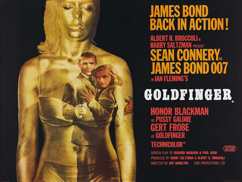 Goldfinger, poster, Sean Connery, Honor Blackman, 1964. (Photo by LMPC via Getty Images)