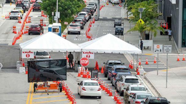 PHOTO: People queue in their cars to get the COVID-19 coronavirus testing service by the Florida Army National Guard partnered with the City of Miami Beach and the Florida Department of Health, in Miami Beach, Fla., July 17, 2020. (Cristobal Herrera-Ulashevich/EPA via Shutterstock)