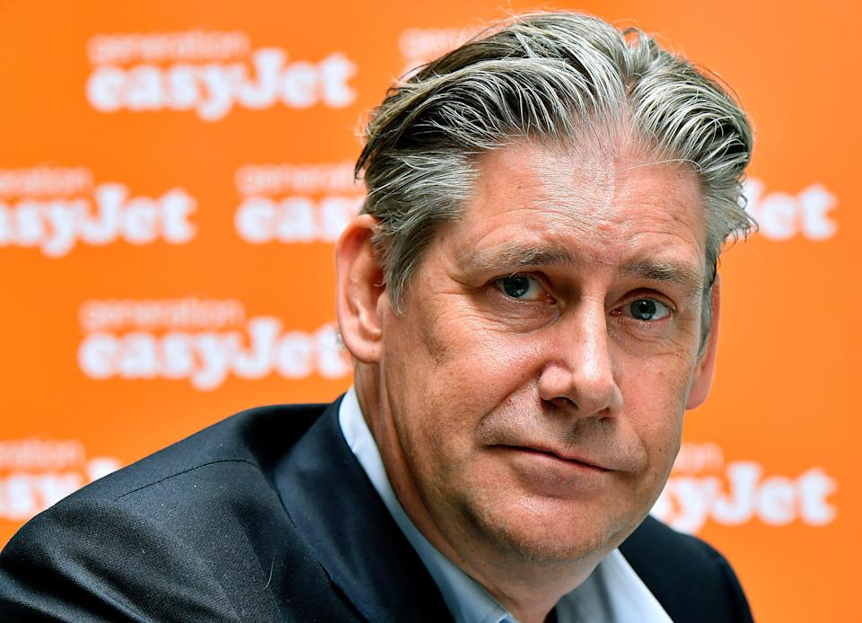 Low-cost airline EasyJet CEO Johan Lundgren attends the inauguration of EasyJet's new base at Bordeaux Airport on March 28, 2018. - The Bordeaux base is the airline's sixth air base in France. (Photo by GEORGES GOBET / AFP)        (Photo credit should read GEORGES GOBET/AFP/Getty Images)