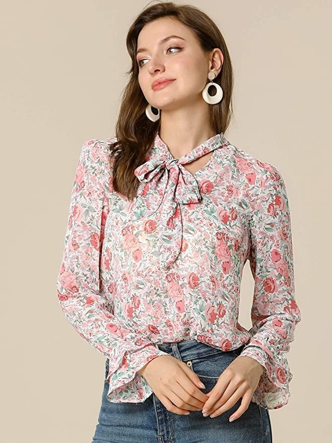 <p>This <span>Allegra K Floral Tie V Neck Blouse</span> ($24) is office-ready, but it's also up for afterwork happy hours.</p>