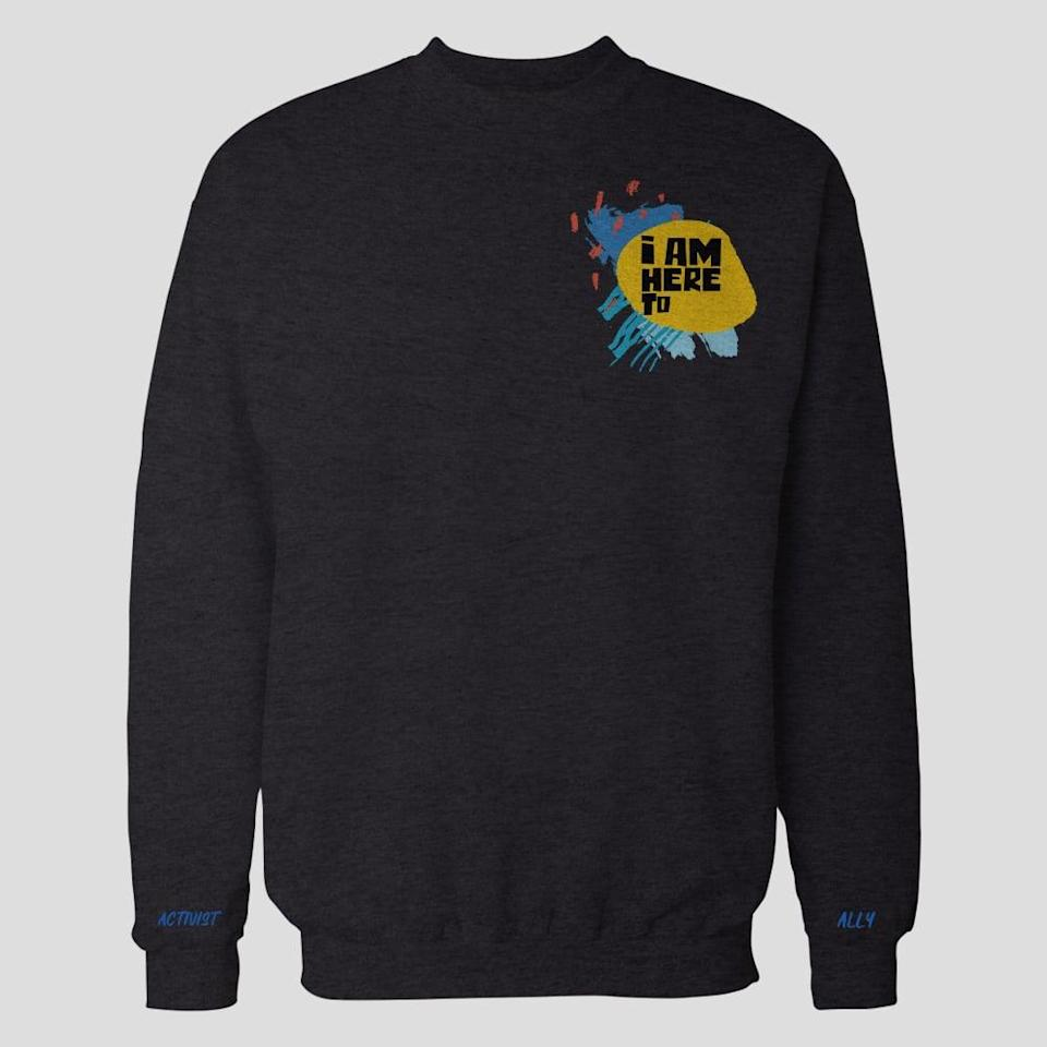 """<p>These <a href=""""https://iamhereto.com/collections/products/products/i-am-here-to-sweatshirt-black"""" class=""""link rapid-noclick-resp"""" rel=""""nofollow noopener"""" target=""""_blank"""" data-ylk=""""slk:sweatshirts"""">sweatshirts</a> ($105) are screen printed at <a href=""""https://lacana.mx/pages/quienes-somos"""" class=""""link rapid-noclick-resp"""" rel=""""nofollow noopener"""" target=""""_blank"""" data-ylk=""""slk:LA CANA"""">LA CANA</a> in Mexico city. La Cana is a social enterprise that works with incarcerated women by bringing productive programs and workshops into prisons that are aimed at achieving women's effective reintegration into society.</p>"""