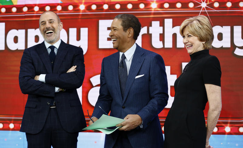 """This image released by NBC shows, from left, host Matt Lauer with guest hosts, Bryant Gumbel and Jane Pauley, on NBC News' """"Today"""" show, Monday, Dec. 30, 2013 in New York. Gumbel and Pauley, who worked together on """"Today"""" from 1982 to 1989, joined Matt Lauer to co-host on Monday, filling in for Savannah Guthrie and Natalie Morales who were off. (AP Photo/NBC, Peter Kramer)"""
