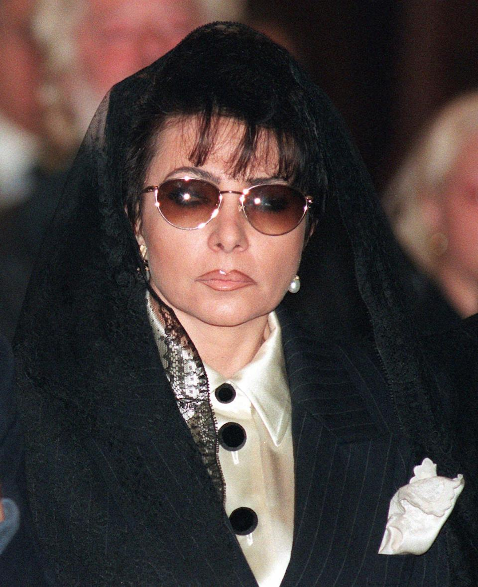 Patrizia Reggiani at the funeral of her former husband, Maurizio Gucci, in Milan on April 3, 1995. - Credit: AP