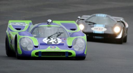 Belgian Vincent Gaye drives the Porsche 917 N23 in a vintage-car race at Le Man in 2012