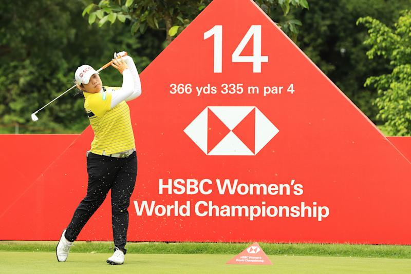 World No. 1 women's golfer Ariya Jutanugarn of Thailand plays her shot from the 14th tee during the first round of the HSBC Women's World Championship at Sentosa Golf Club on February 28, 2019. (PHOTO: Andrew Redington/Getty Images)