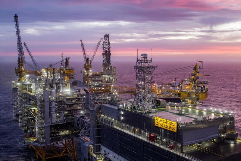 FILE PHOTO: A view of the Johan Sverdrup oilfield in the North Sea