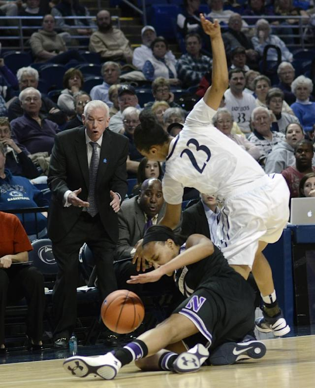 Penn State's Ariel Edwards (23) reaches for possession of a loose ball around Northwestern's Lauren Douglas as Northwestern's head coach Joe McKeown looks on, during the first half of an NCAA basketball game in State College, Pa., Thursday, Feb. 20, 2014. (AP Photo/Ralph Wilson)