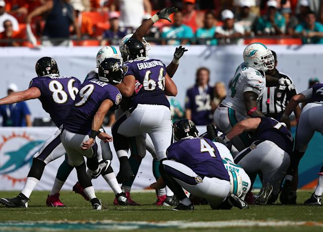 Baltimore Ravens kicker Justin Tucker (9) kicks a 44-yard field goal during the second half of an NFL football game against the Miami Dolphins, Sunday, Oct. 6, 2013, in Miami Gardens, Fla. The Ravens defeated the Dolphins 26-23. (AP Photo/J Pat Carter)